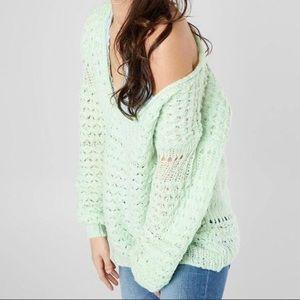 NWT Free People Crashing Waves Sweater Mint